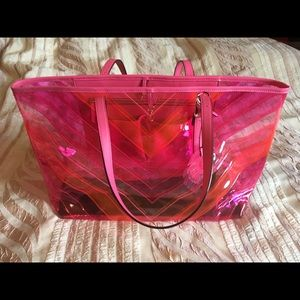 Victoria's Secret chevron clear pink tote bag